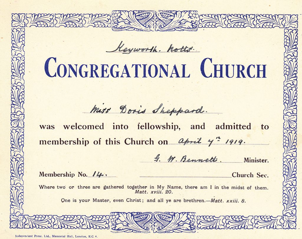 congregational-church-membership-card-doris-sheppard-1919