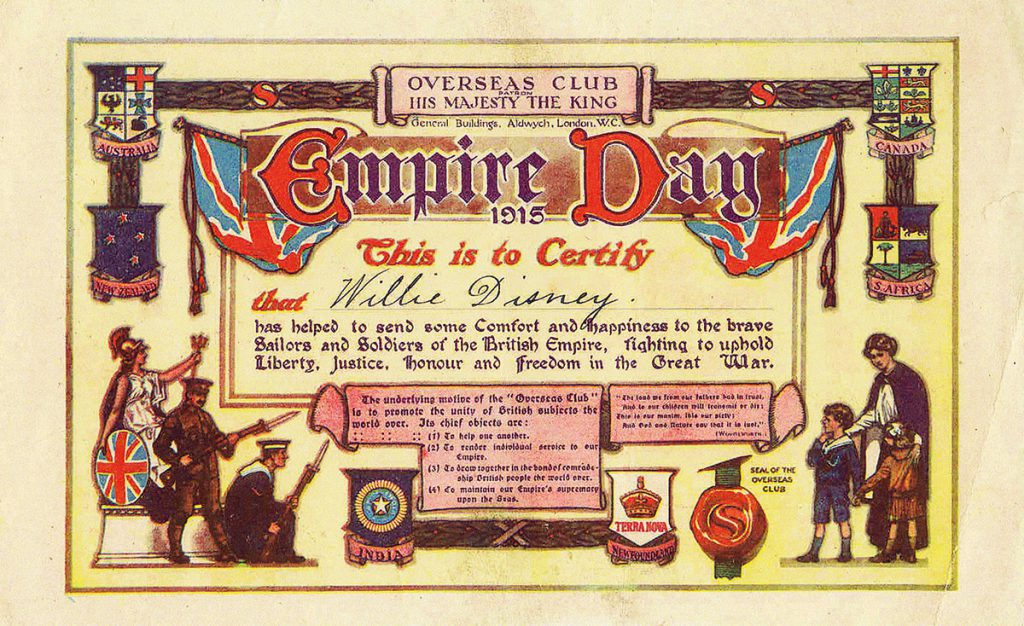 willie-disneys-1915-empire-day-certificate