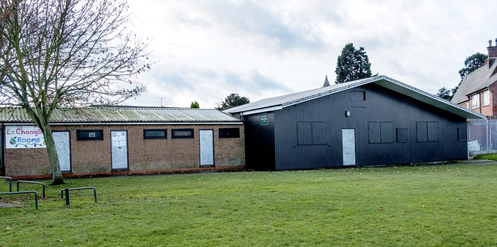 The old changing rooms on the Rectory Field in December 2016