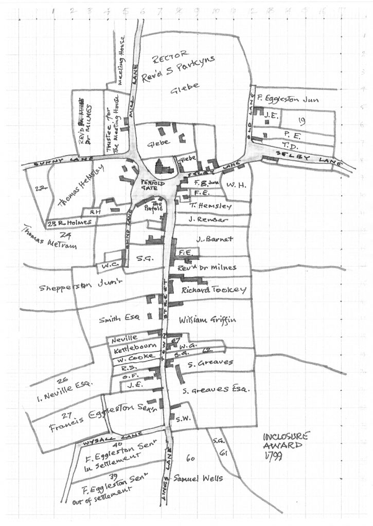 CONSERVATION AREA KEYWORTH VILLAGE FIELDS MAP 1799